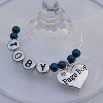 Page Boy Personalised Wine Glass Charm